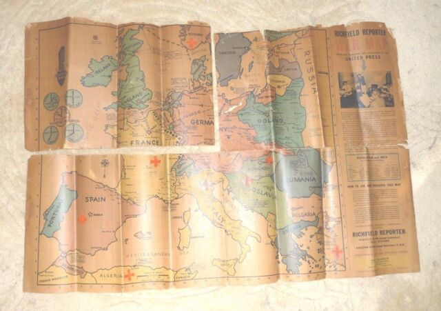 1939 Pictorial World War II Map Military Bases Ports WWII Wall Poster Print