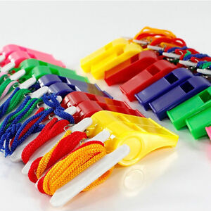 Lot-of-24-Plastic-Whistle-amp-Lanyard-Emergency-Survival-New-Arrival