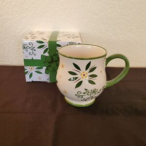 Temp-tations By Tara - Green Floral Pedestal Cup/Mug In Box ~ 16 Oz. ~ Brand NEW