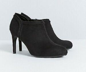 Details about Lane Bryant Black Shootie High Heel Boots Shoes Faux Suede Zipper WIDE WIDTH 9W