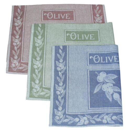 BETZ 3er Pack halbleinen vaisselle foulards Olive Taille 50 x 70 cm