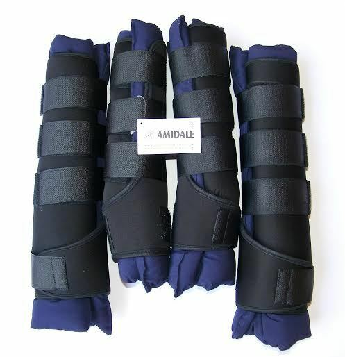 AMIDALE HORSE STABLE BOOTS   WRAPS TRAVEL BOOTS SET OF FOUR NAVY blueE BNWT