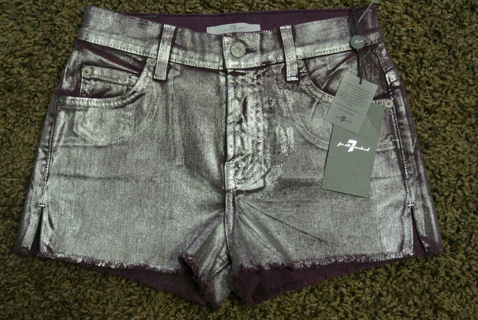 7 For All Mankind Sexy Metallic Coated Cut-Off Shorts 30 NWT 149 Stretch  Purple