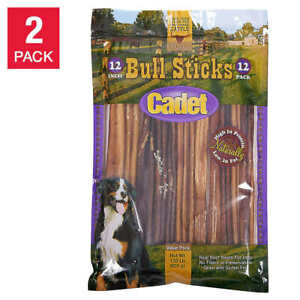"""Cadet 12"""" Bully Sticks Real beef 12-count, 2-pack NEW"""