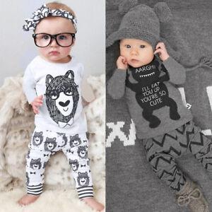 recien-nacido-Bebes-Infantes-Bebe-Nino-Ropa-Camiseta-Sueter-Pantalones-largos