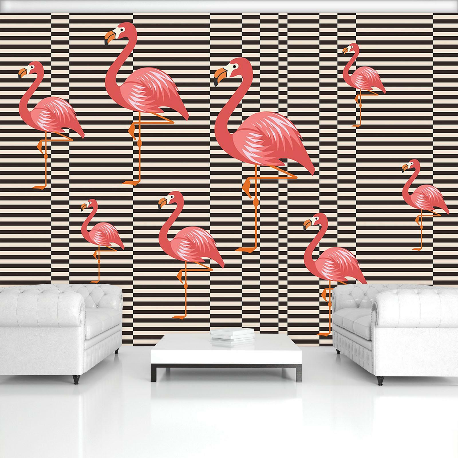 Photo Wallpaper Mural Non-woven 11143_VEN Flamingo Abstraction Art Geometry Mode