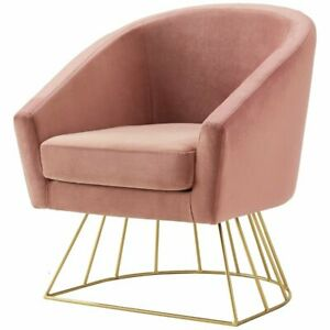 Astonishing Details About Leo Blush Velvet Accent Chair Gold Metal Base Barrel Tufted Andrewgaddart Wooden Chair Designs For Living Room Andrewgaddartcom