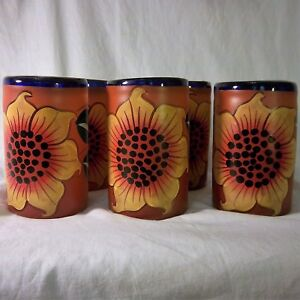 Mexican-Hand-Blown-Glass-Tumblers-Sunflowers-Orange-Blue-Vintage-Set-of-6