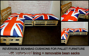Image Is Loading BEANBAG CUSHIONS FOR PALLET GARDEN FURNITURE UNION JACK