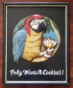 Funny Parrot Screw Cracker Polly Wants Cocktail Metal Tiki Bar Sign Wall Decor