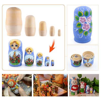 5Pcs DIY Matryoshka Dolls Unpainted Wooden Russian Nesting ...