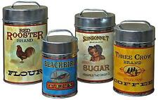 Vintage Canisters Set Coffee Tea Sugar Flour Retro Tin Metal Kitchen Canister