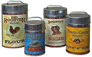 Marvelous Image Is Loading Vintage Canisters Set Coffee Tea Sugar Flour Retro