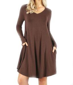 d8d1adcb5dd Zenana Plus Premium Fabric V-Neck Long Sleeve A-Line Dress With Side ...