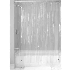 SOLID WATER REPELLANT BATHROOM SHOWER CURTAIN VINYL PLASTIC LINER CLEAR