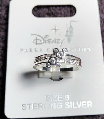 .925 Sterling Silver Mickey Mouse Ring Crystal ✿ Disney Park Authentic Size 9
