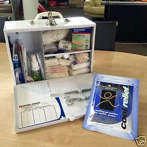 2-x-BASIC-FIRST-AID-KITS-filled-White-Metal-Wall-Mount-LEGAL-WORK-PLACE