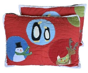 Pottery Barn Kids Christmas Quilted Ser Of 2 Pillow Cases