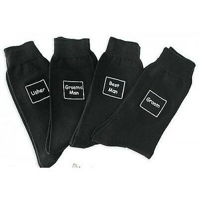 BLACK WEDDING SOCKS - MANY DIFFERENT TITLES - GROOM,USHER,BEST MAN - GREAT GIFT!