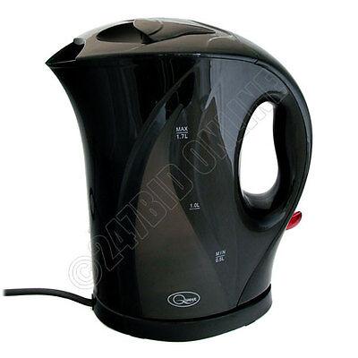 BLACK 1.7 LITRE 2000W CORDLESS FAST BOIL ELECTRIC JUG KETTLE WASHABLE FILTER