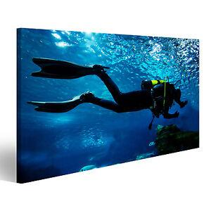 Bild-Bilder-auf-Leinwand-Tauchen-im-Ozean-Taucher-Silhouette-BUO-1K