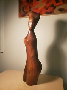 "Vtg. Mid Century Modern Nude Female Torso Walnut Sculpture 24"" Tall"