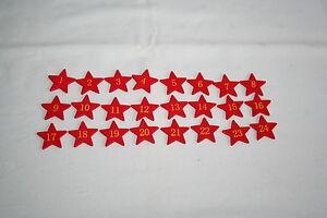 1-24 madera cifras rojo madera cifras calendario de Adviento estrella streuteile Navidad  </span>