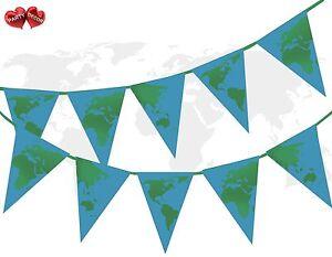 Planet-Earth-Globe-vert-Continents-sur-Ocean-Bleu-Theme-Bunting-Banniere-15-drapeaux