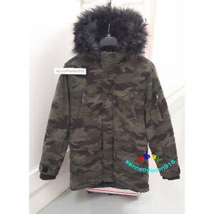 Details about HOLLISTER MENS FAUX FUR LINED PARKA JACKET COAT CAMO SIZE L,XL