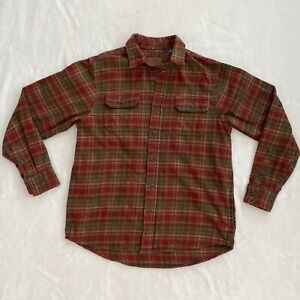 Orvis-Heavy-Flannel-Shirt-Plaid-Long-Sleeve-Button-Front-Red-Mens-Size-Medium