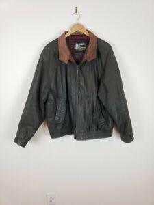VINTAGE-LONDON-FOG-Mens-XL-Black-Leather-Bomber-Jacket-w-Brown-Collar