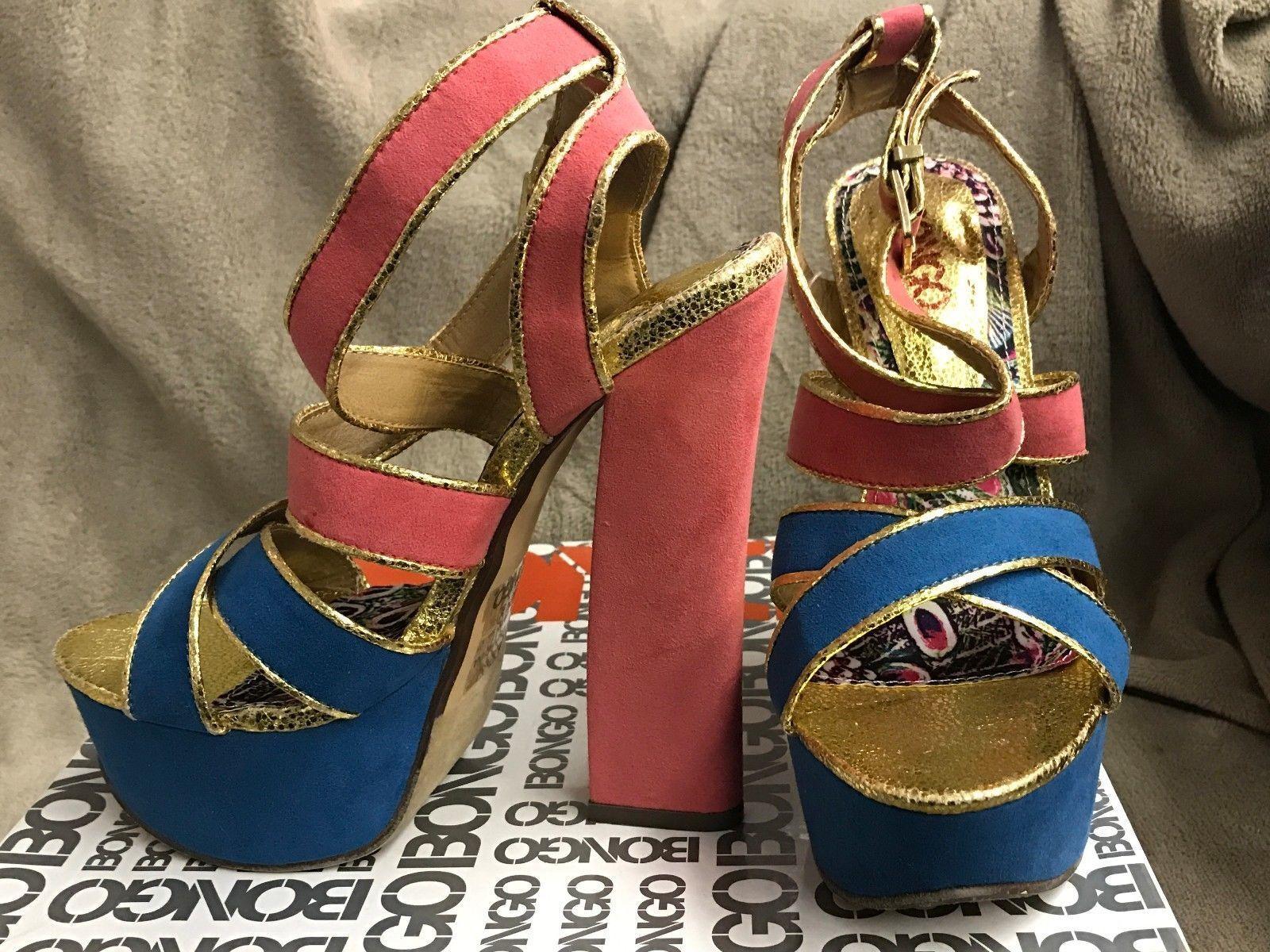 Women's Bongo Blue Pink Pumps Sandals High Heel Platform Pumps Pink 3f5a33