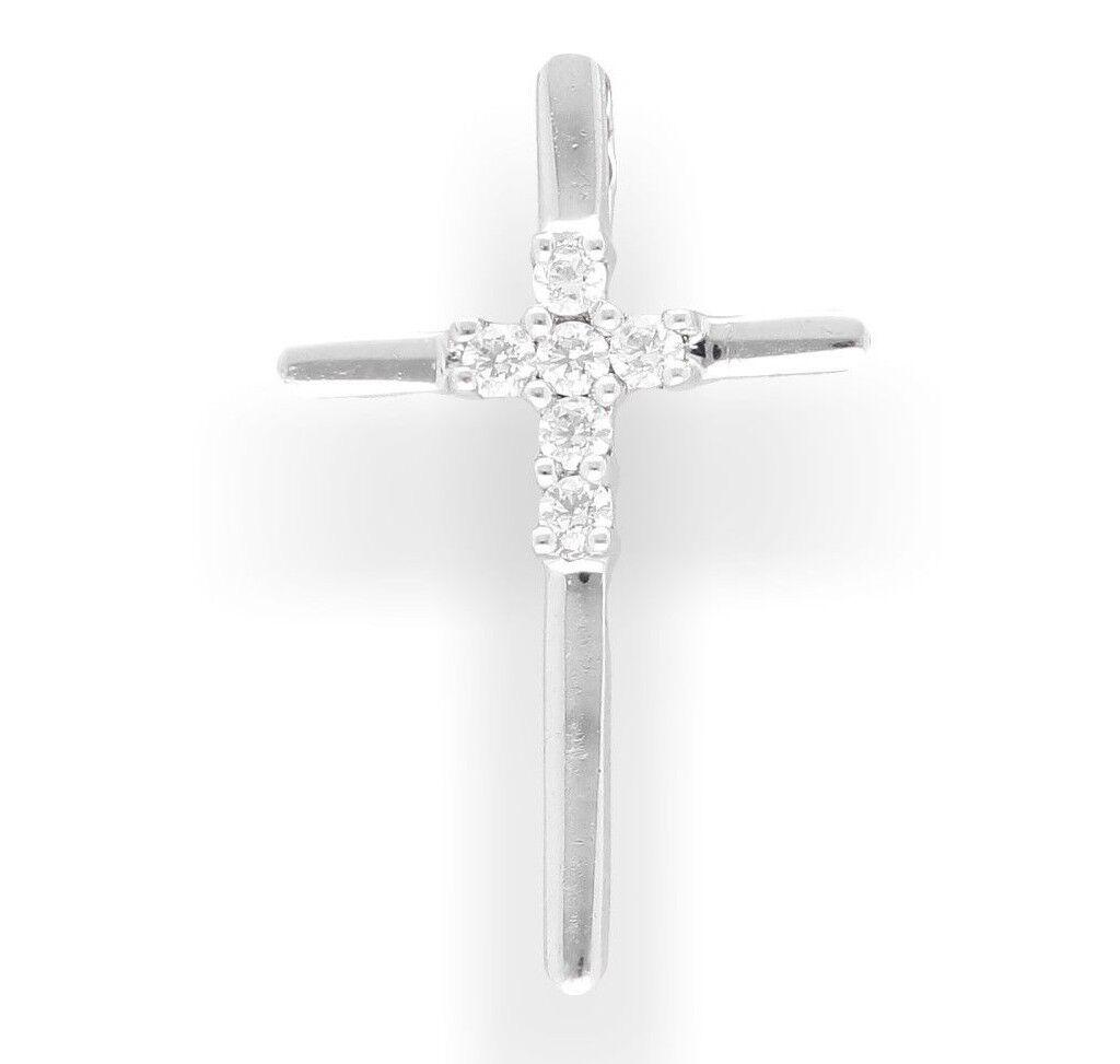 9Carat White gold Simulated Diamond Cross Pendant (18x28mm)