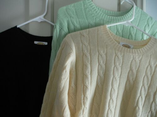 Talbot's 100% Cashmere LOT of 3 Cable Knit Crewnec