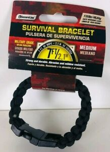MEDIUM-Survival-Bracelet-Military-Grade-Nylon-Paracord-7-039-Rope-Black