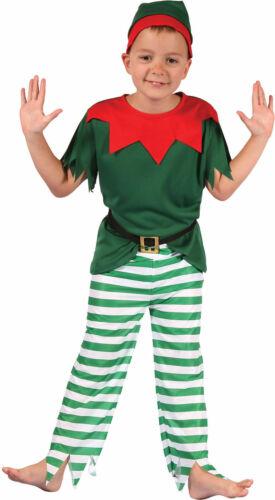 Elf Costume Kids Boys Christmas Fancy Dress Santa Xmas Helper outfit S