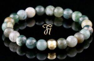 Indien-Achat-925er-sterling-Silber-vergoldet-Armband-Bracelet-Perlenarmband-8mm