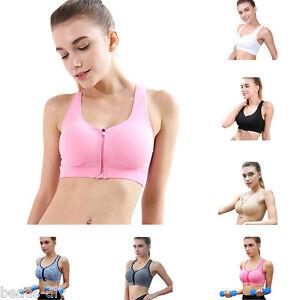 BD-Women-Running-Sports-Bra-Tops-Zipper-Push-Up-Seamless-Padded-Gym-Fitness-Vest