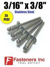 Qty 25 Pop Rivets All Stainless Steel 6 6 316 X 38 Grip Range