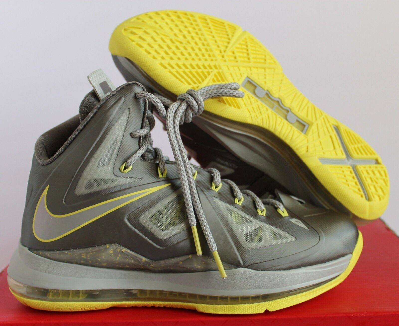 NIKE LEBRON 10 X CANARY DIAMOND SPORT grau-ELECTRIC Gelb SZ 7