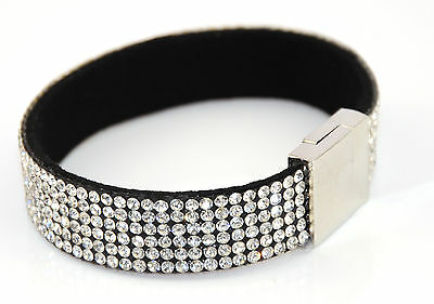 Quality  Wrap Rhinestone Bling Bracelet Band Magnetic Clasp