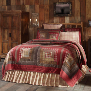 TACOMA-QUILT-SET-choose-size-amp-accessories-Log-Cabin-Red-Plaid-Lodge-VHC-Brands