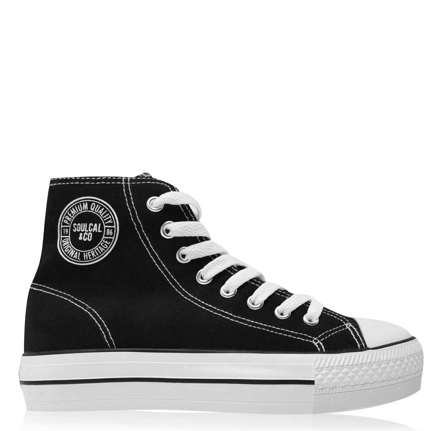 Womens SoulCal Canvas High Top Trainers Lace Up New