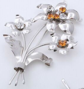 Leo-Glass-Signed-Sterling-Silver-Crystal-Amber-Rhinestone-Floral-Pin-Brooch-3-5-034