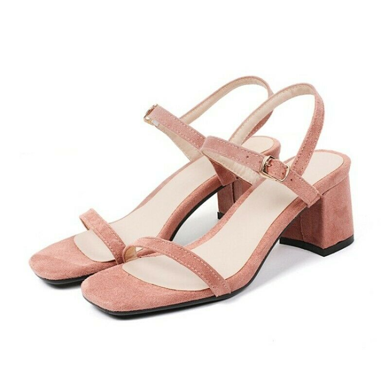 Lady Ankle Strap Mid Block Heel Sandals Cut Out Slingback Fashion shoes Plus Siz