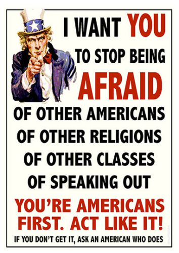 I want you to stop being afraid Anti-Racist advert  poster reproduction.