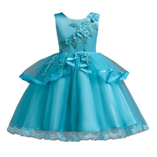 Girls Kids Princess Formal Pageant Wedding Birthday Party Prom Dress Flower Bow