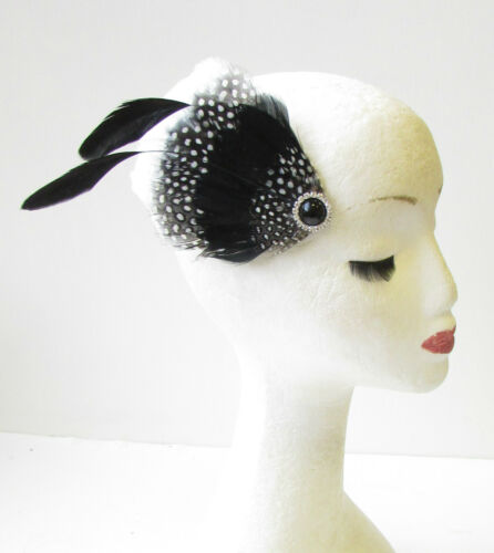 Black White Silver Feather Fascinator Hair Clip 1940s Races Vintage Ascot 1455