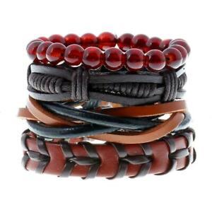Lot-de-4-Bracelets-Pour-Homme-ou-Femme-Ado-Ideal-Cadeau-de-Noel-en-Cuir-Perles