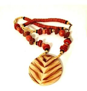 1980-039-s-Chunky-Beaded-Wood-Necklace-Retro-Boho-Lg-Round-Acrylic-Pendant